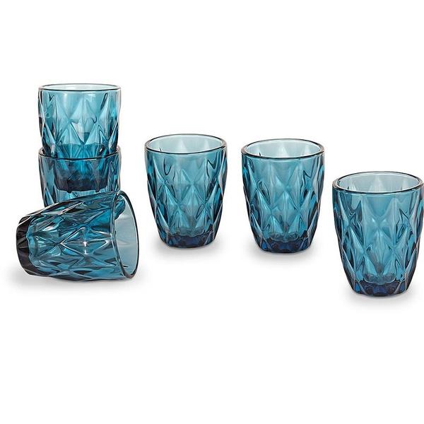 Σετ 6 ποτήρια ουίσκι ρόμβος μπλε