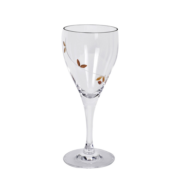 Ποτήρι κρασιού με  φύλλα ελιάς