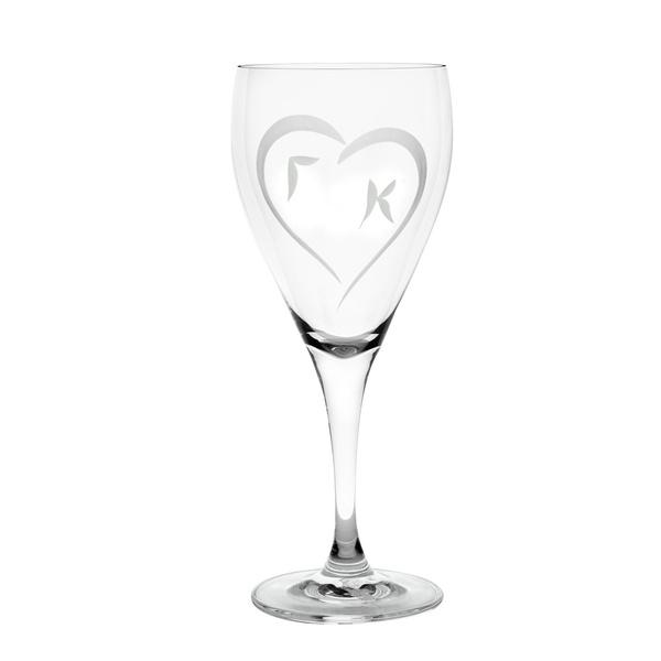 Ποτήρι κρασιού καρδιά μονογράμματα
