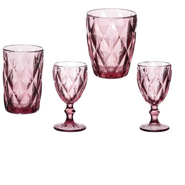 Σετ 24τμχ ποτήρια ρόμβος μοβ ροζ