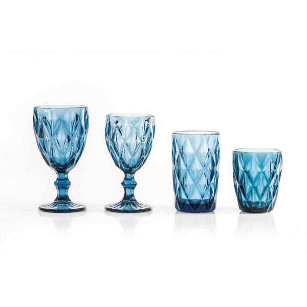 Σετ 24τμχ ποτήρια ρόμβος μπλε