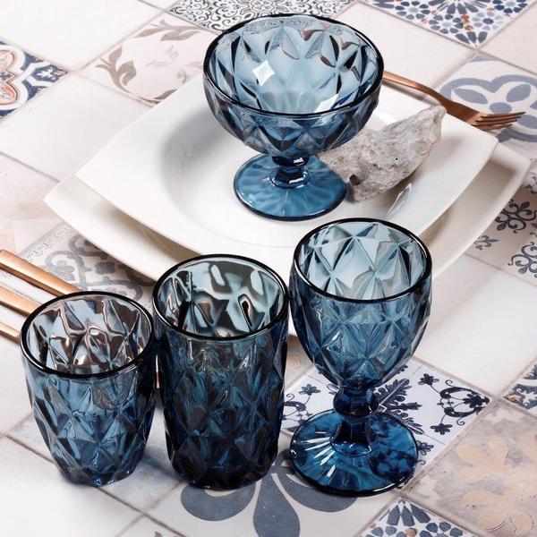 Σετ 24τχμ ποτήρια+μπολ παγωτού ρόμβος μπλε