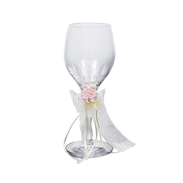 Ποτήρι κρασιού με ροζ τριαντάφυλλο