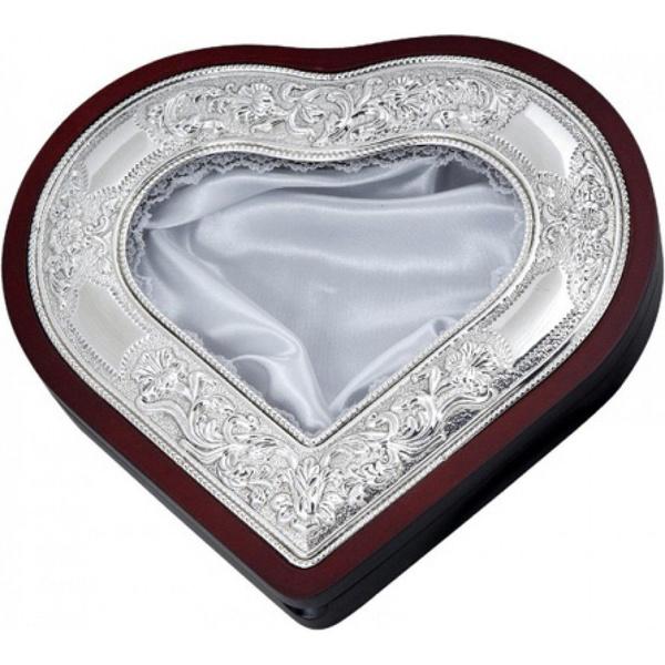 Στεφανοθήκη επάργυρη σε σχήμα καρδιάς
