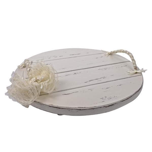 Ξύλινος δίσκος στρογγυλός δαντέλα