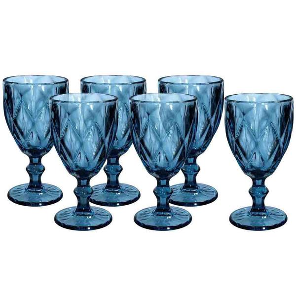 Σετ 6 ποτήρια κρασιού ρόμβος μπλε