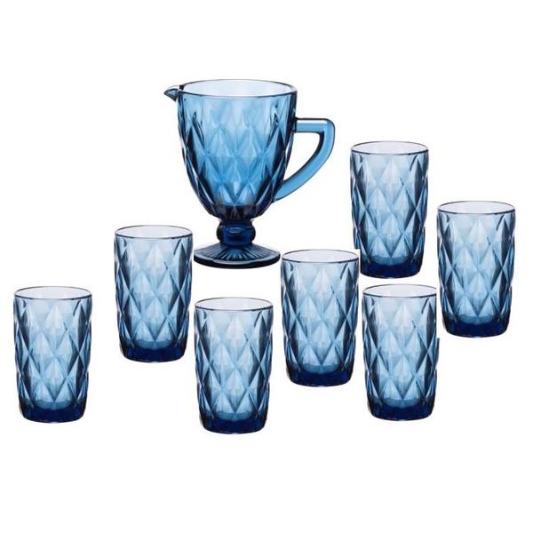 Σετ 7μχ κανάτα+ποτήρια ρόμβος μπλε