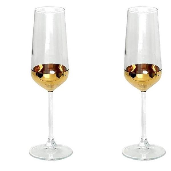 Σετ 2τμχ ποτήρι σαμπάνιας χρυσό