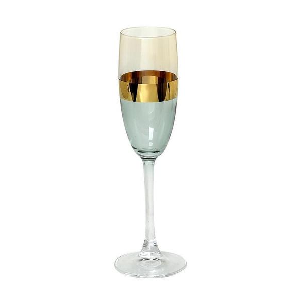Σετ 2τμχ ποτήρια σαμπάνιας με χρυσή λεπτομέρεια