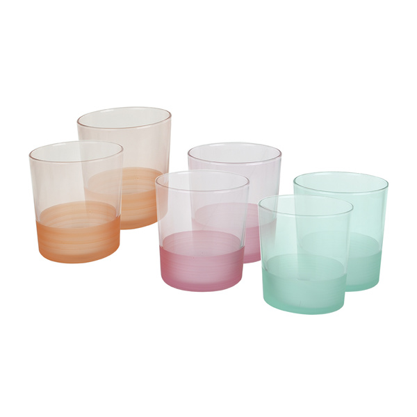 Σετ 6 ποτήρια νερού ουίσκι 3χρώματα