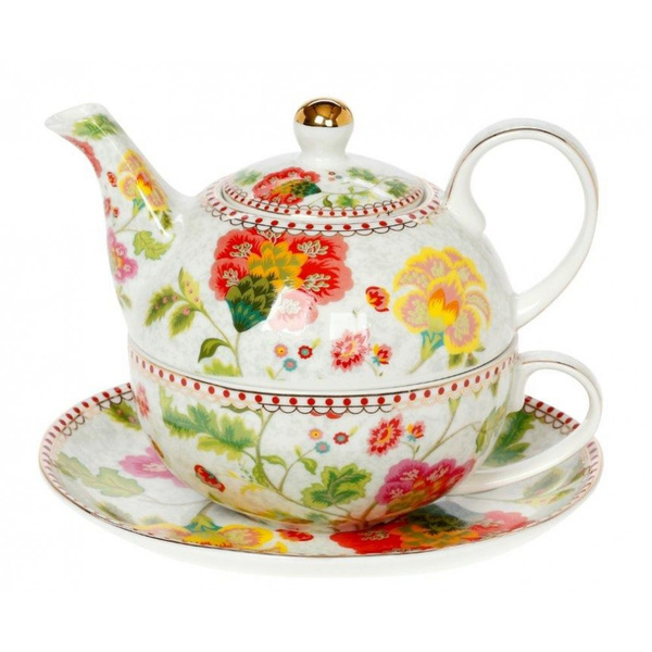 Tea for one Floral Grey