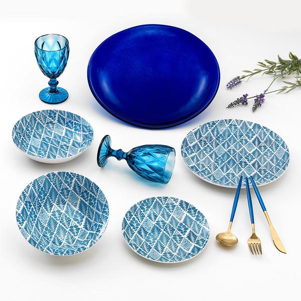 Σετ 6 ατόμων πιάτα Blue Rhapsody+ μαχαιροπίρουνα blue gold